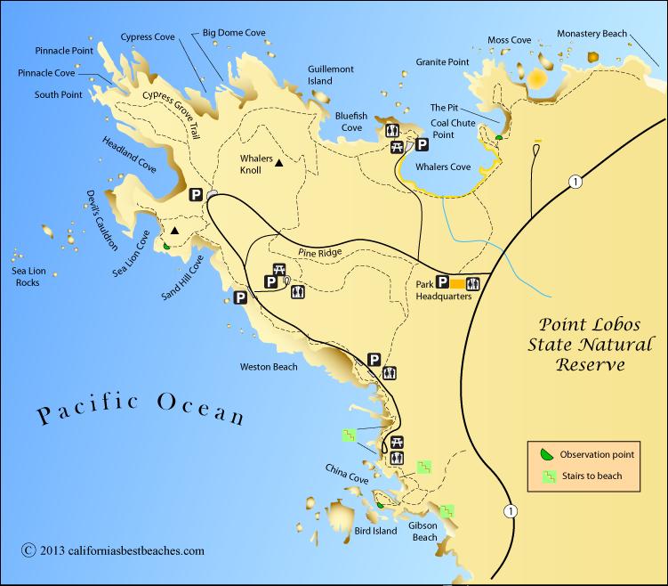 Point Lobos map Monterey County CA  Vacation Getaways