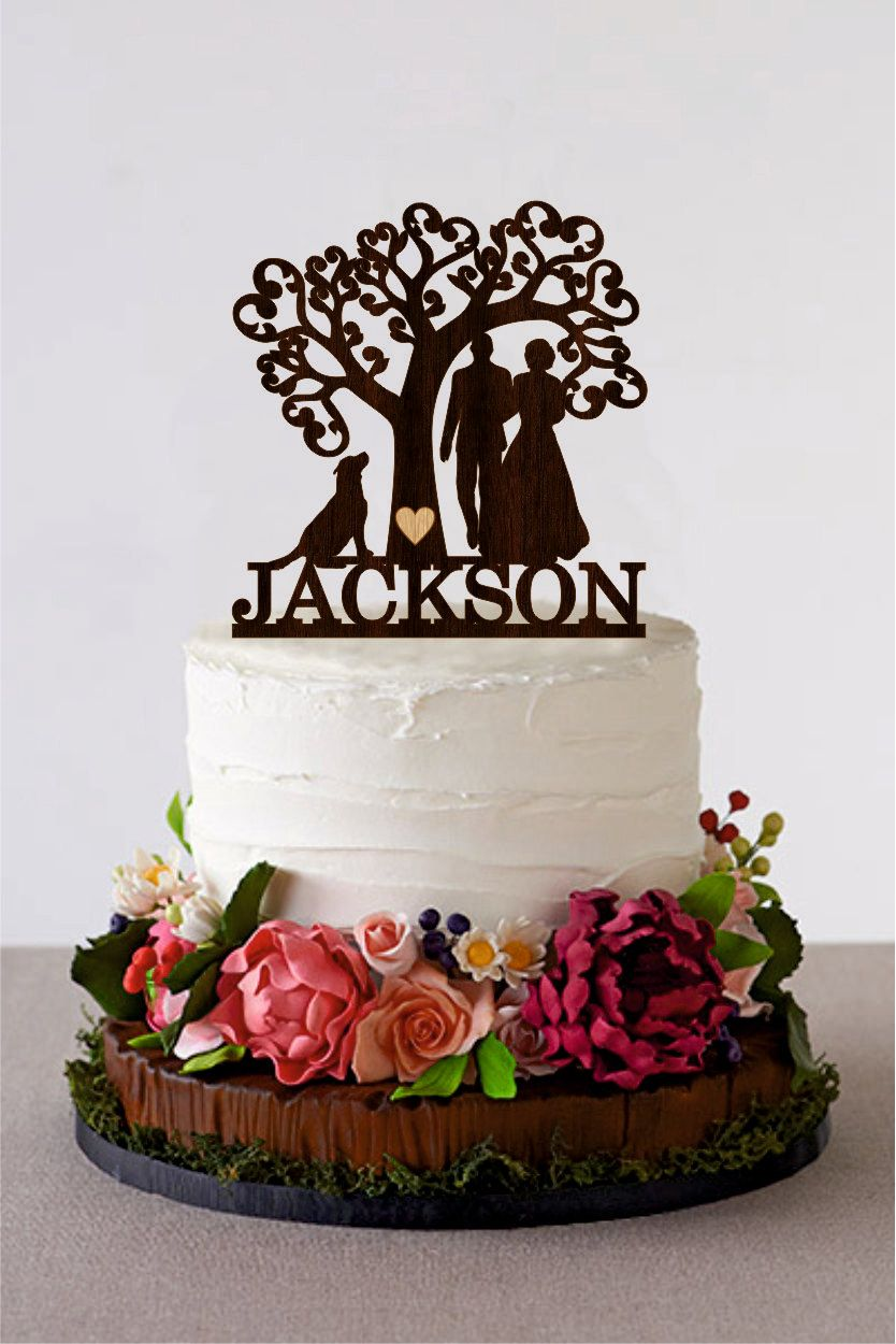 Wedding cake topper silhouette couple with dog tree wedding cake