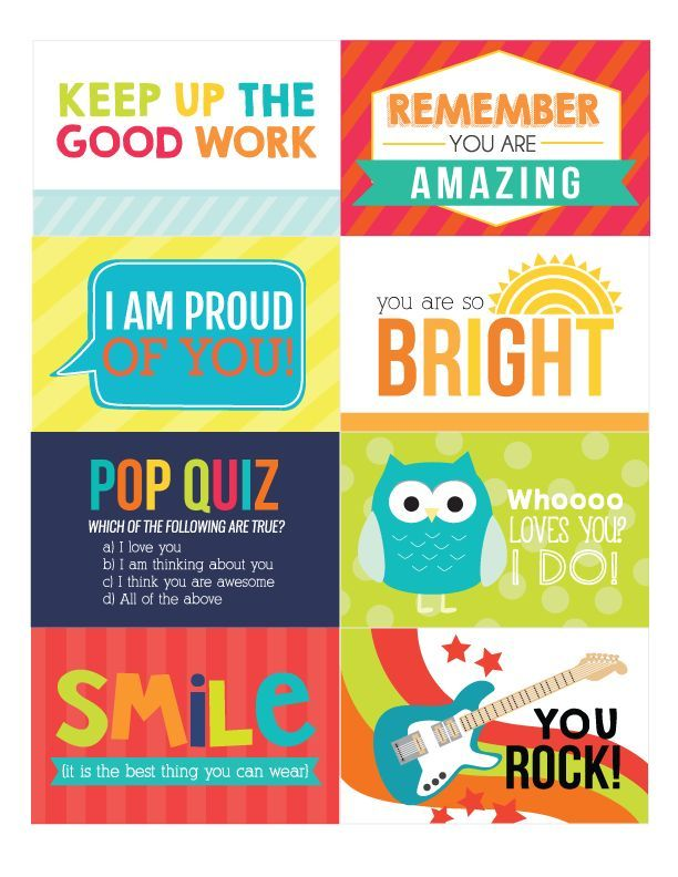 The Coolest FREE Printable Lunch Box Notes on the web! images
