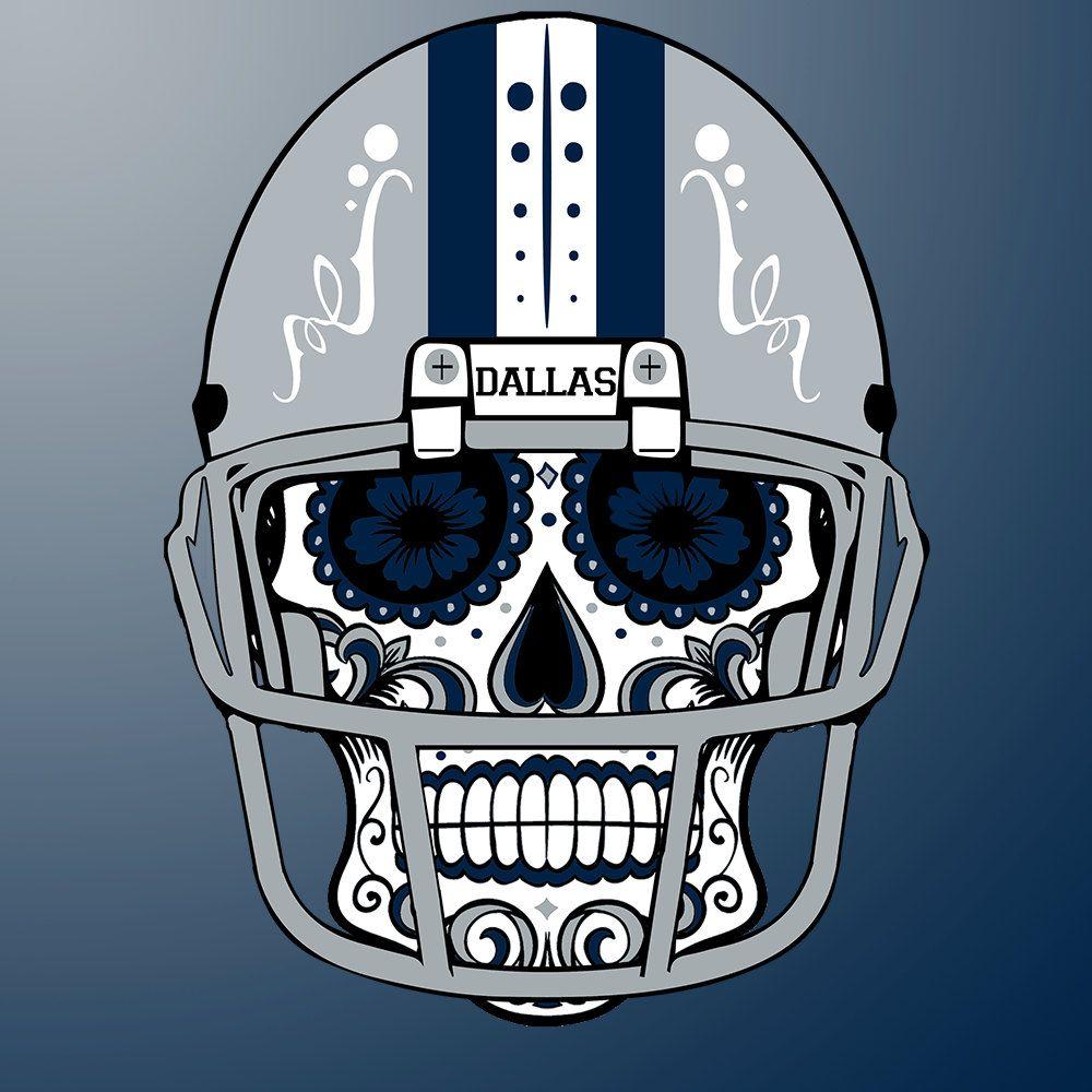 Dallas  Cowboys Custom NFL Sugar Skull (calavera) Tees and Hoodies! by  CustomClothingShop on Etsy beb6c4fc5