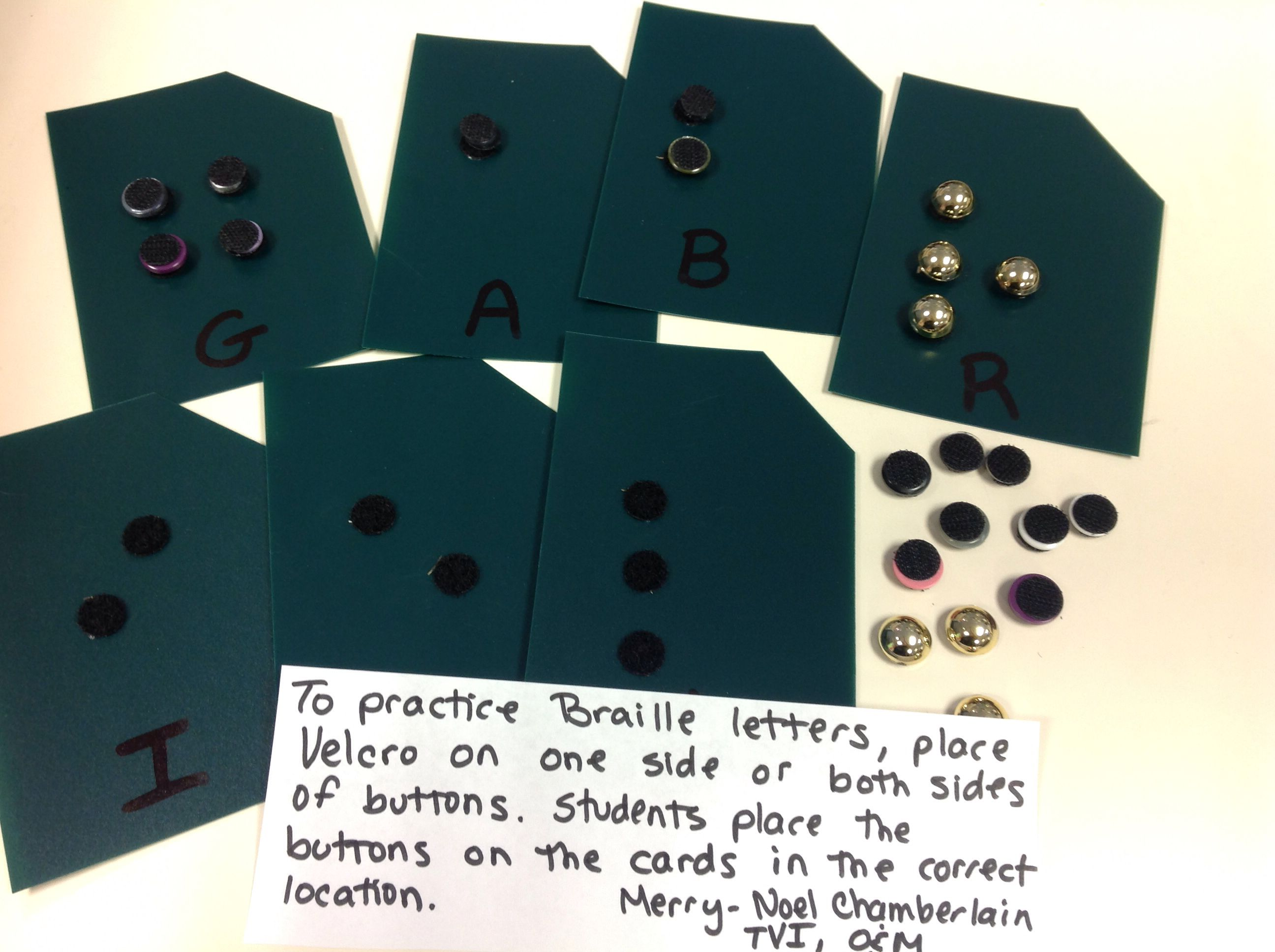 Place Velcro On One Side Or Both Sides Of Buttons To Practice Braille Letters Have The Student