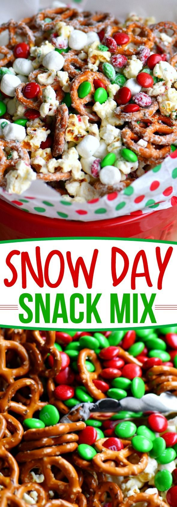 This wonderfully festive Snow Day Snack Mix is the perfect easy treat all winter long!  Both sweet and salty, this holiday snack mix is great for Christmas, movie nights, parties, gifts and so much more! // Mom On Timeout  christmas  dessert  snack  pretzels  marshmallows  redandgreen  momontimeout