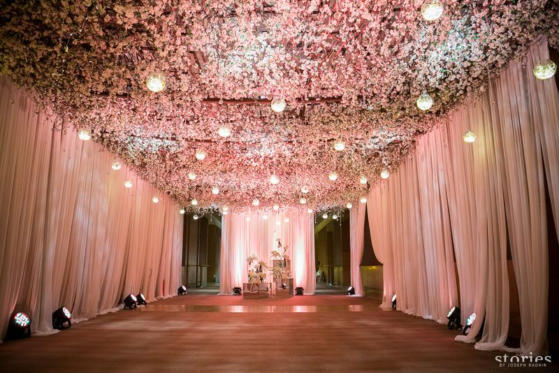 Dreamy Reception Decor In White And Lavender Wedding Ceiling