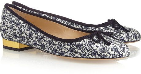 003d86d1bdf7 Charlotte Olympia Darcy Printed Crepesatin Ballet Flats in Blue - Lyst