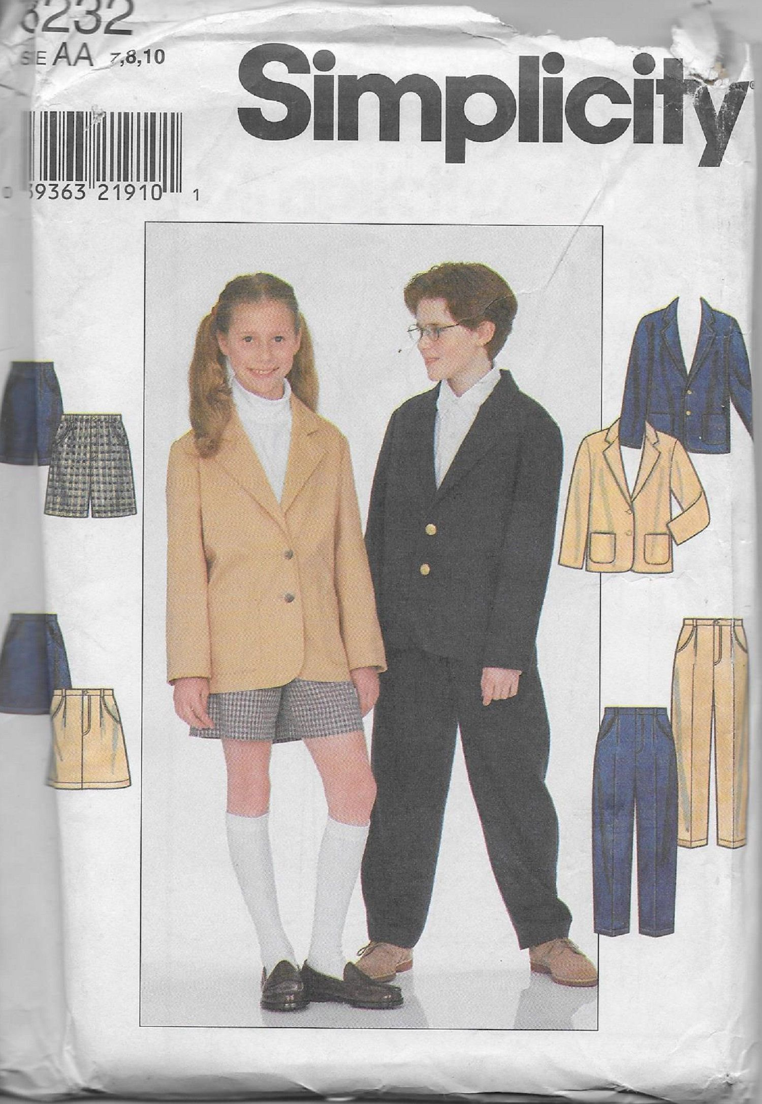 b2e575c764df Simplicity 8232 Boys' and Girls' Suit, Jacket, Skirt and Pants Or Shorts,  School Uniform Sewing Pattern, Size 7-8-10, UNCUT by DawnsDesignBoutique on  Etsy