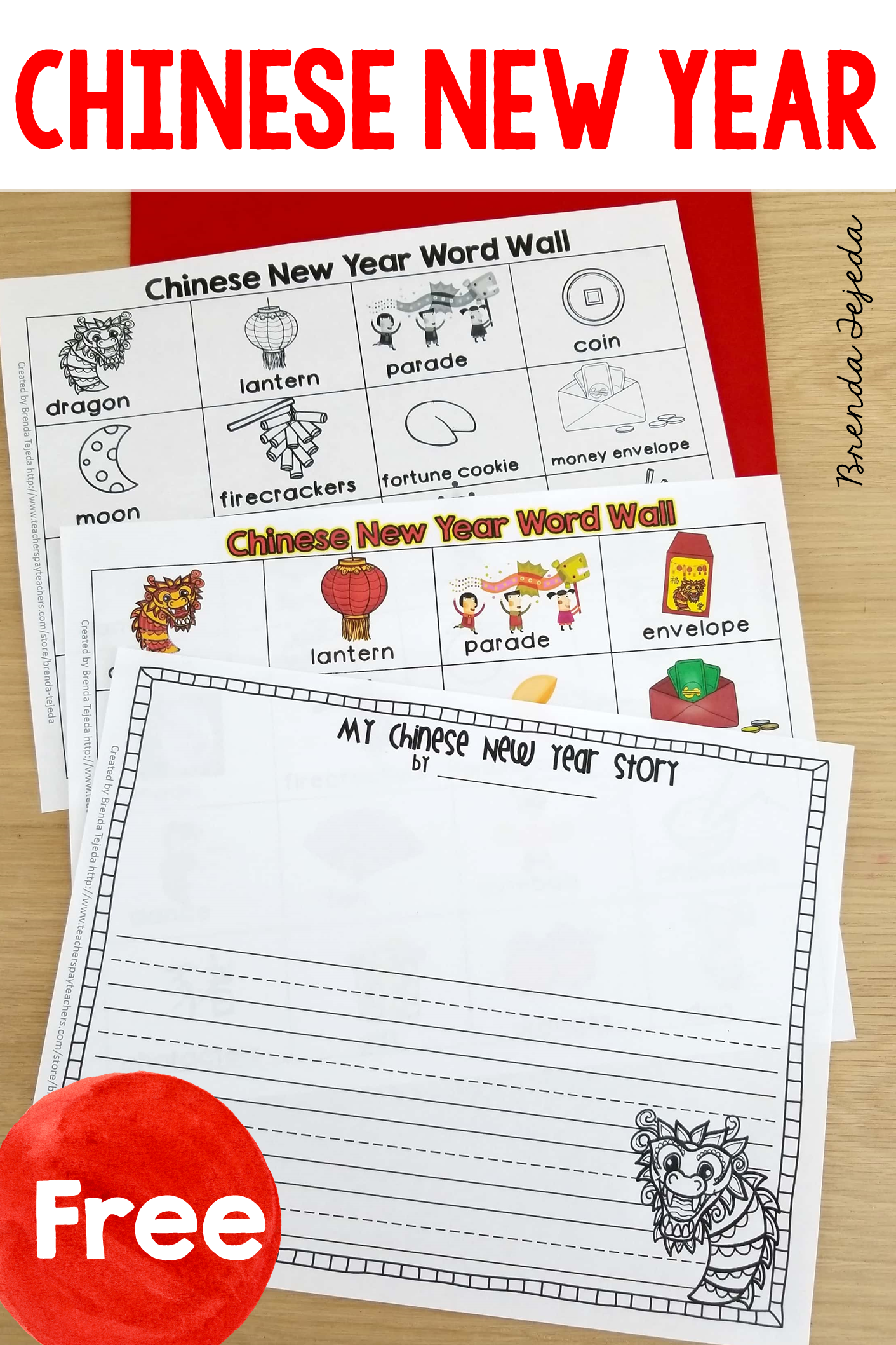 Free Chinese New Year Word Wall And Stationary Writing