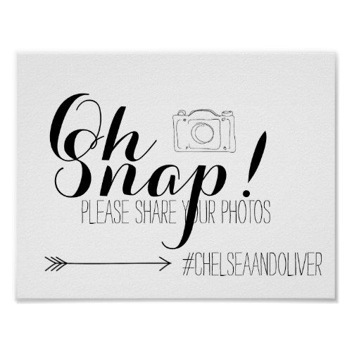 Oh Snap Hashtag Wedding Poster
