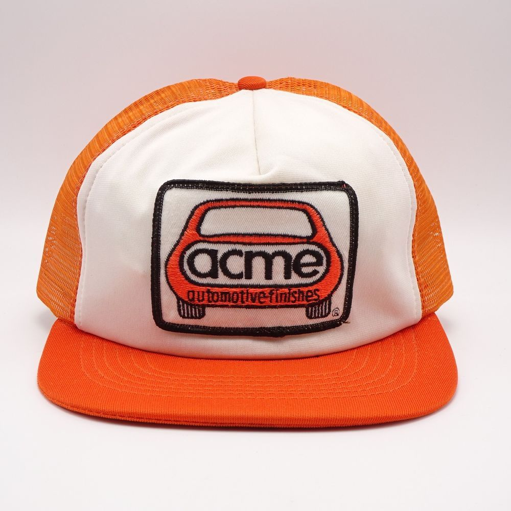 6ee92563626 Vintage Trucker hat Front Patch USA Made Snapback Acme Automotive Finishes   Atlas  TruckerHat