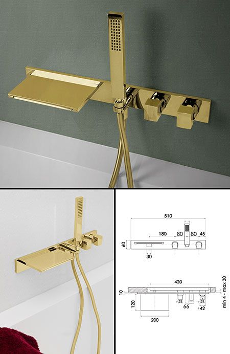 Waterblade Gold Bath Tap With Shower 38ee