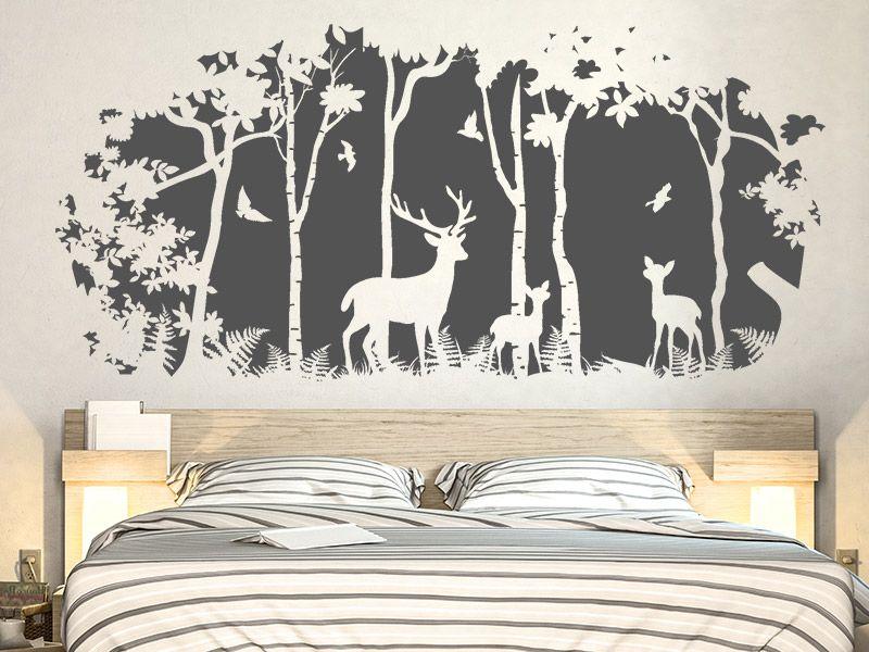 Wandtattoo Waldlichtung Hirsche Birken Walls Pinterest