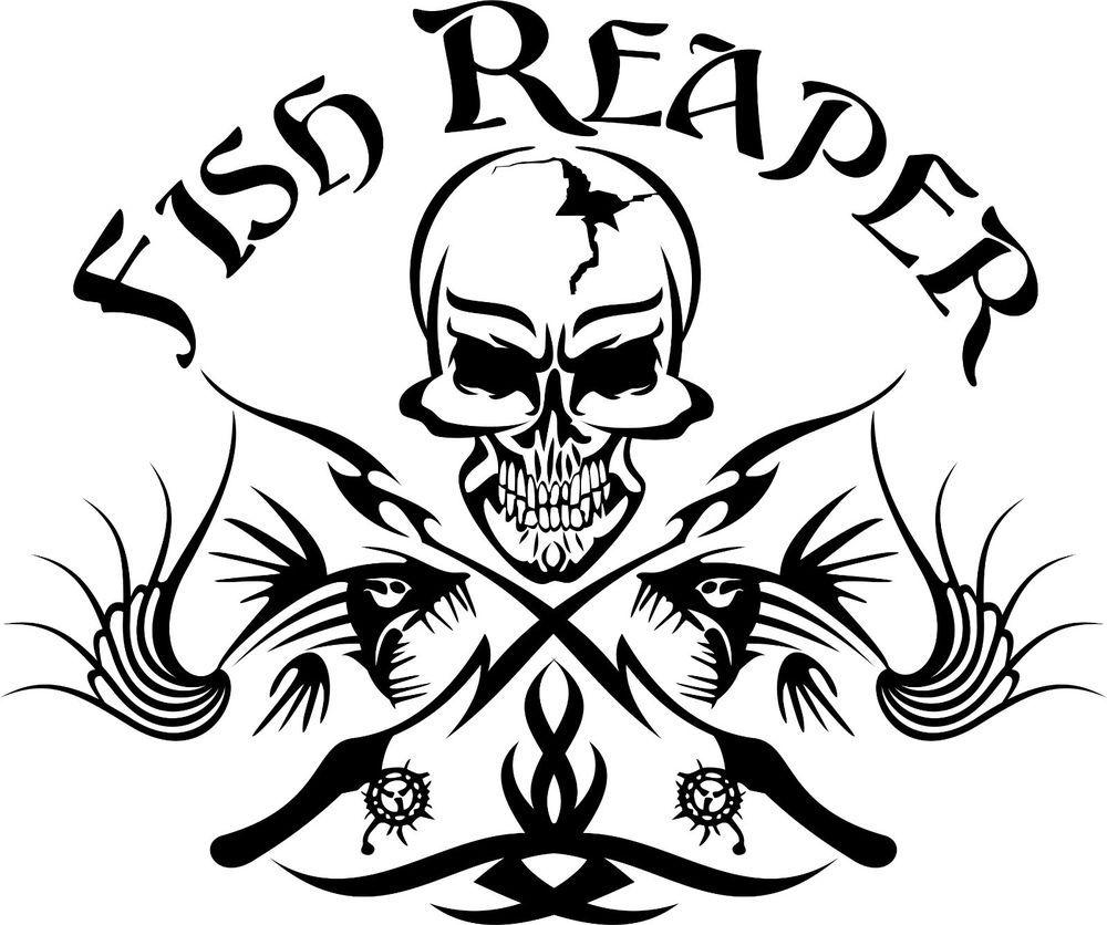 Fish Reaper Skull Tribal Fishing Rod Car Boat Truck Window