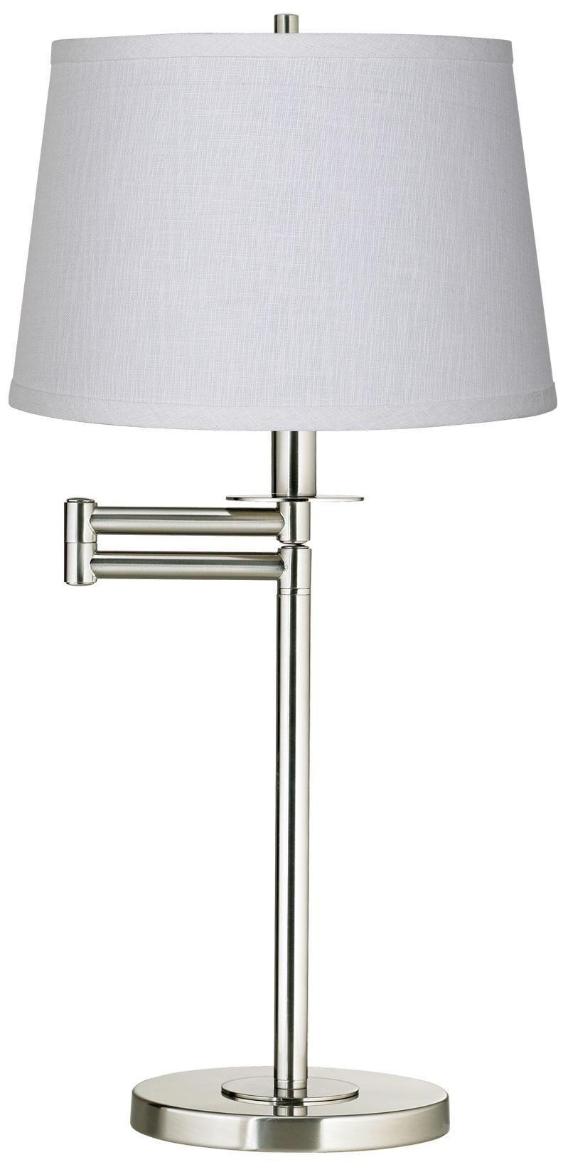 White Fabric Drum Brushed Nickel Swing Arm Desk Lamp