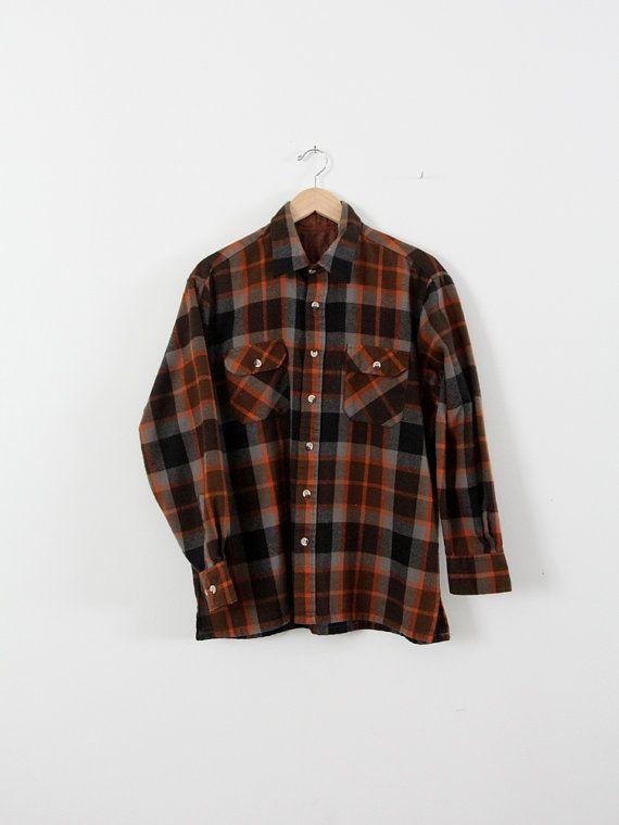 Vintage Plaid Shirt Men S 80s Flannel Button Down Etsy Chemise Carreaux Chemise Homme Motif Ecossais