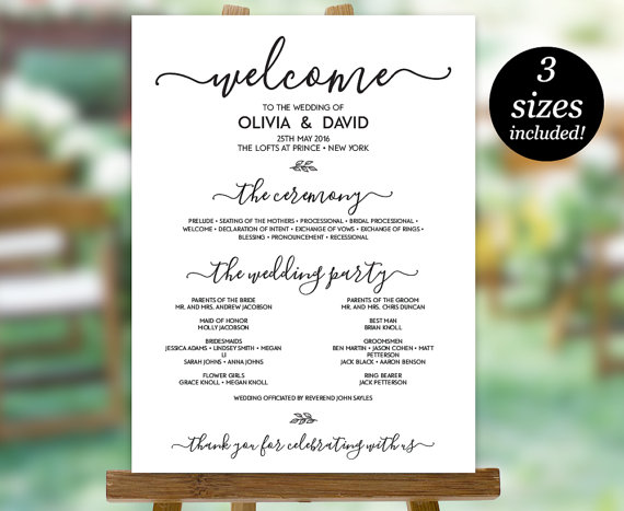 Wedding Program Sign Template, Printable Wedding Program, Wedding   Wedding  Program Template