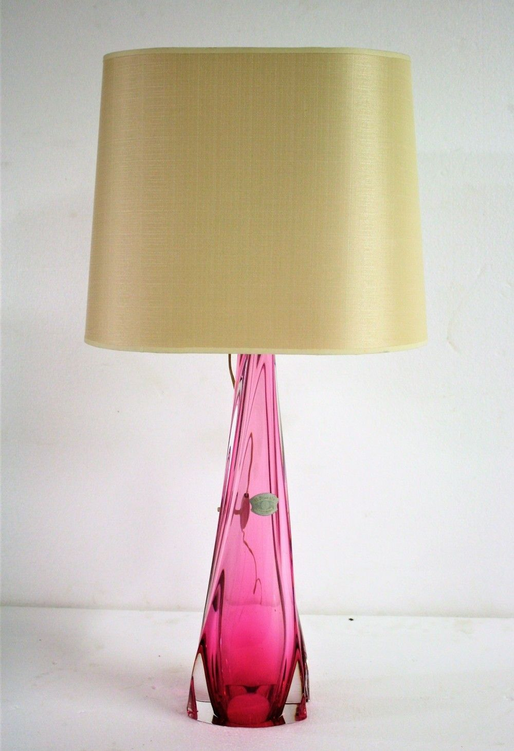 Rare Large Val St Lambert Pink Crystal Table Lamp 1960 Vintage