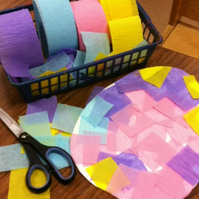 Decorate an Easter Egg template with cut crepe paper ...