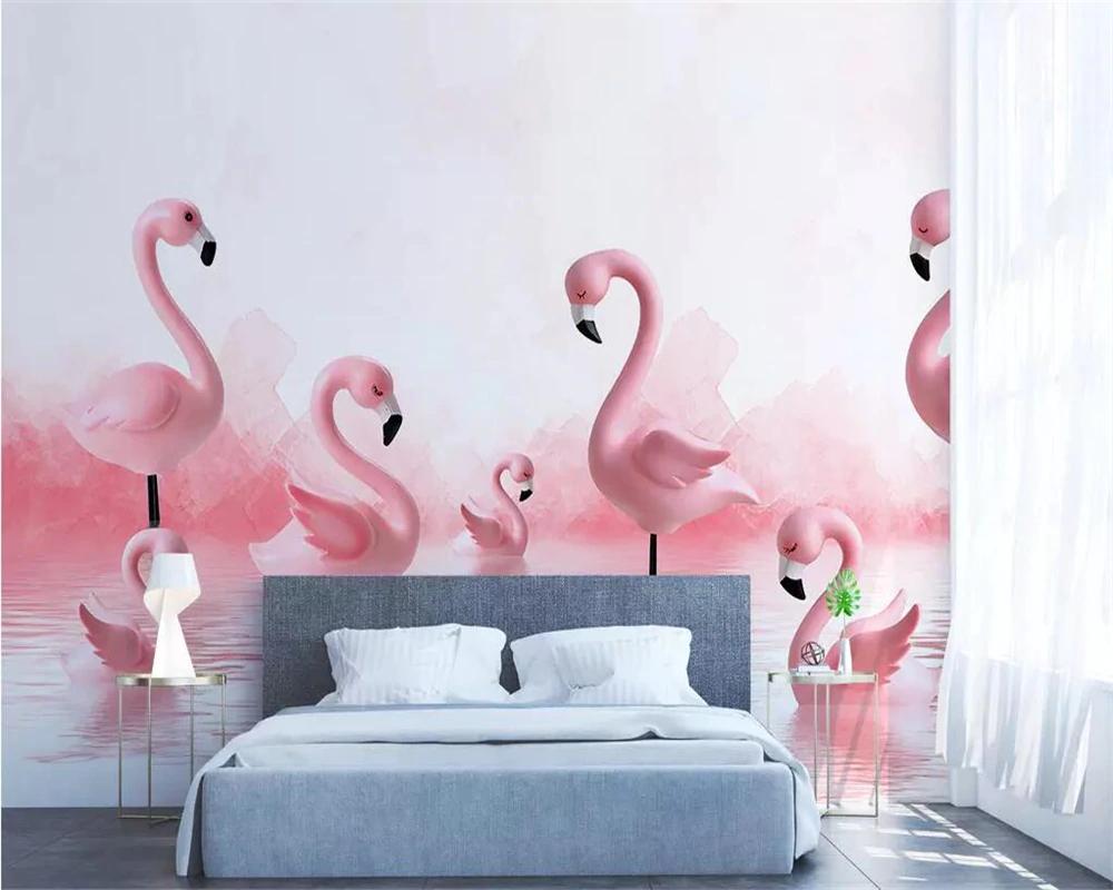 Beibehang Wallpaper Mural Modern 3d Flamingo Children Room Background Wall Boy Girl Cute Pink Room Backg Girls Room Wallpaper Pink Room Pink Flamingo Wallpaper