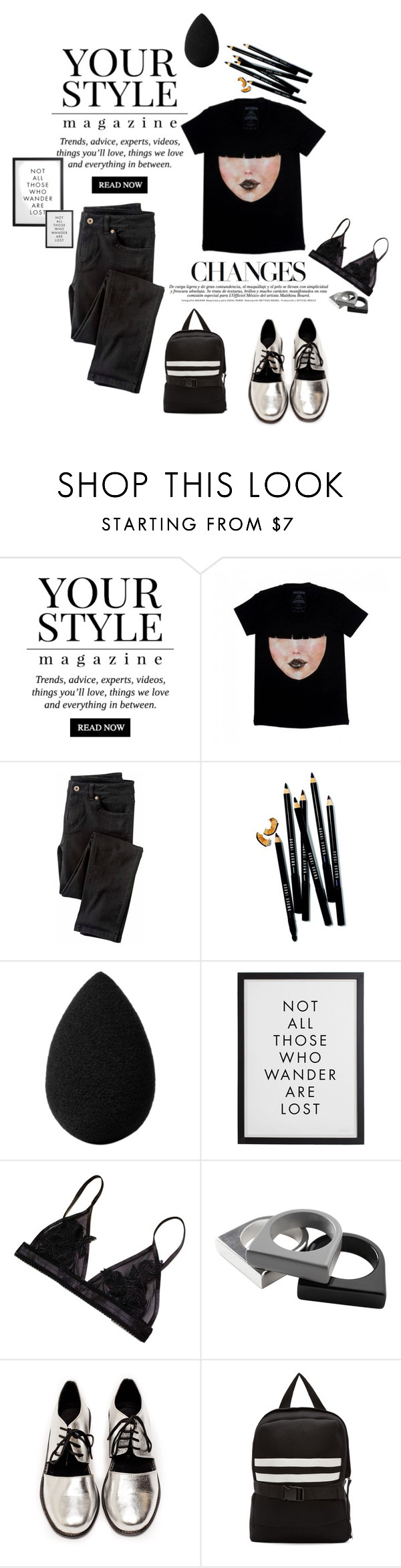 """""""black and silver"""" by madamitsa ❤ liked on Polyvore featuring Pussycat, Wrap, Bobbi Brown Cosmetics, beautyblender, Monki, Shakuhachi and Denis Gagnon"""
