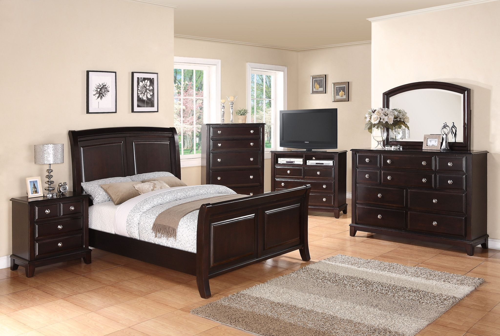 Forty Winks Aurora modern dark wood stained bedroom furniture