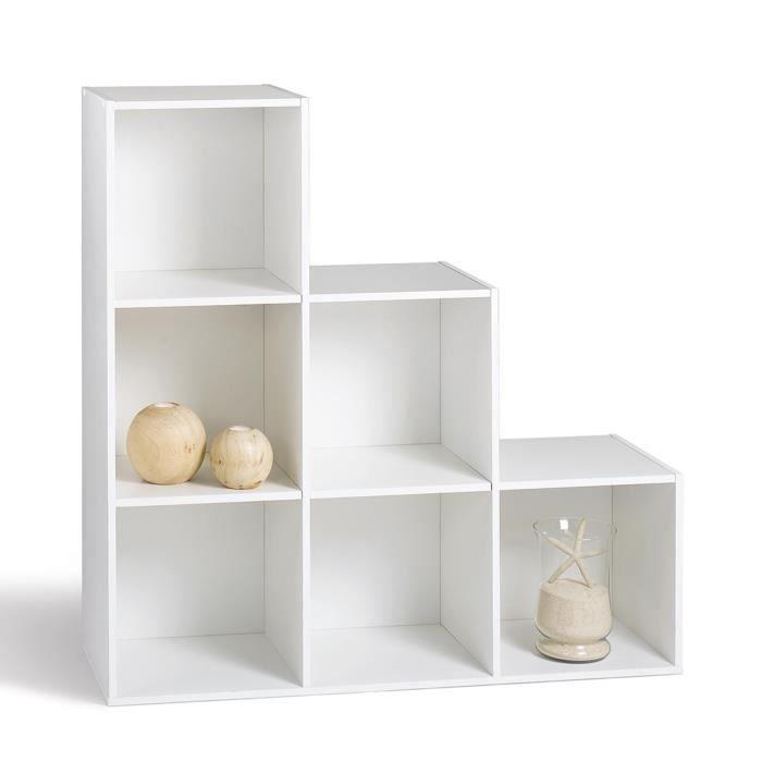 Meuble Étagère Compo Cubes De Rangement Escalier 6 Cases Blanc