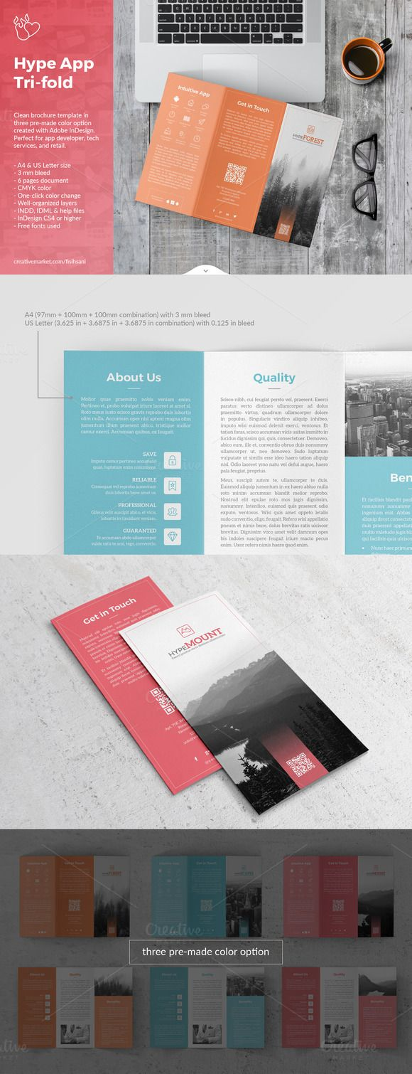 Hype App Trifold Template by fisihsani on @creativemarket