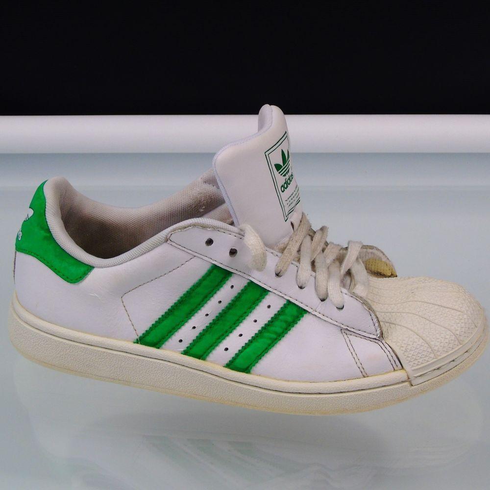 ADIDAS Athletic Shoes Women Size 6 White Green Stripe Shell Toe EVM004001   adidas  BasketballShoes a907ed17ef