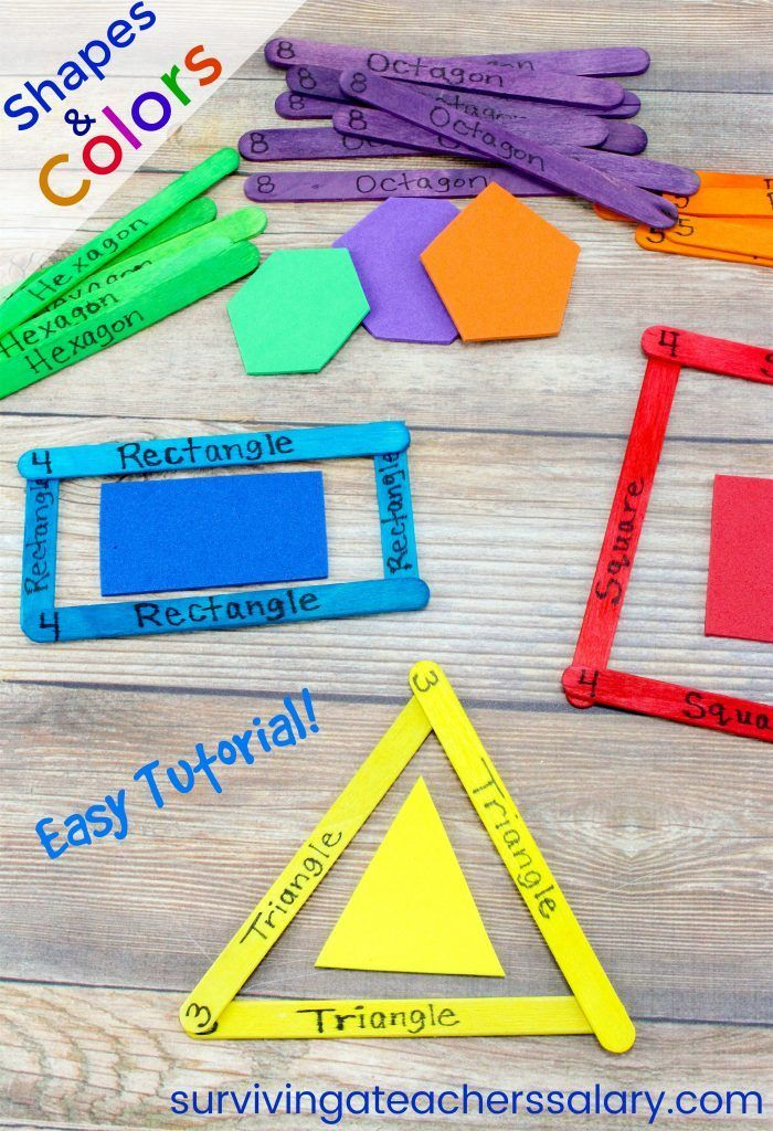 How To Make Craft Stick Shapes Color Activity Fine Motor Skills Tutorial Toddler Learning Activities Learning Shapes Color Activities Preschool colors and shapes activities