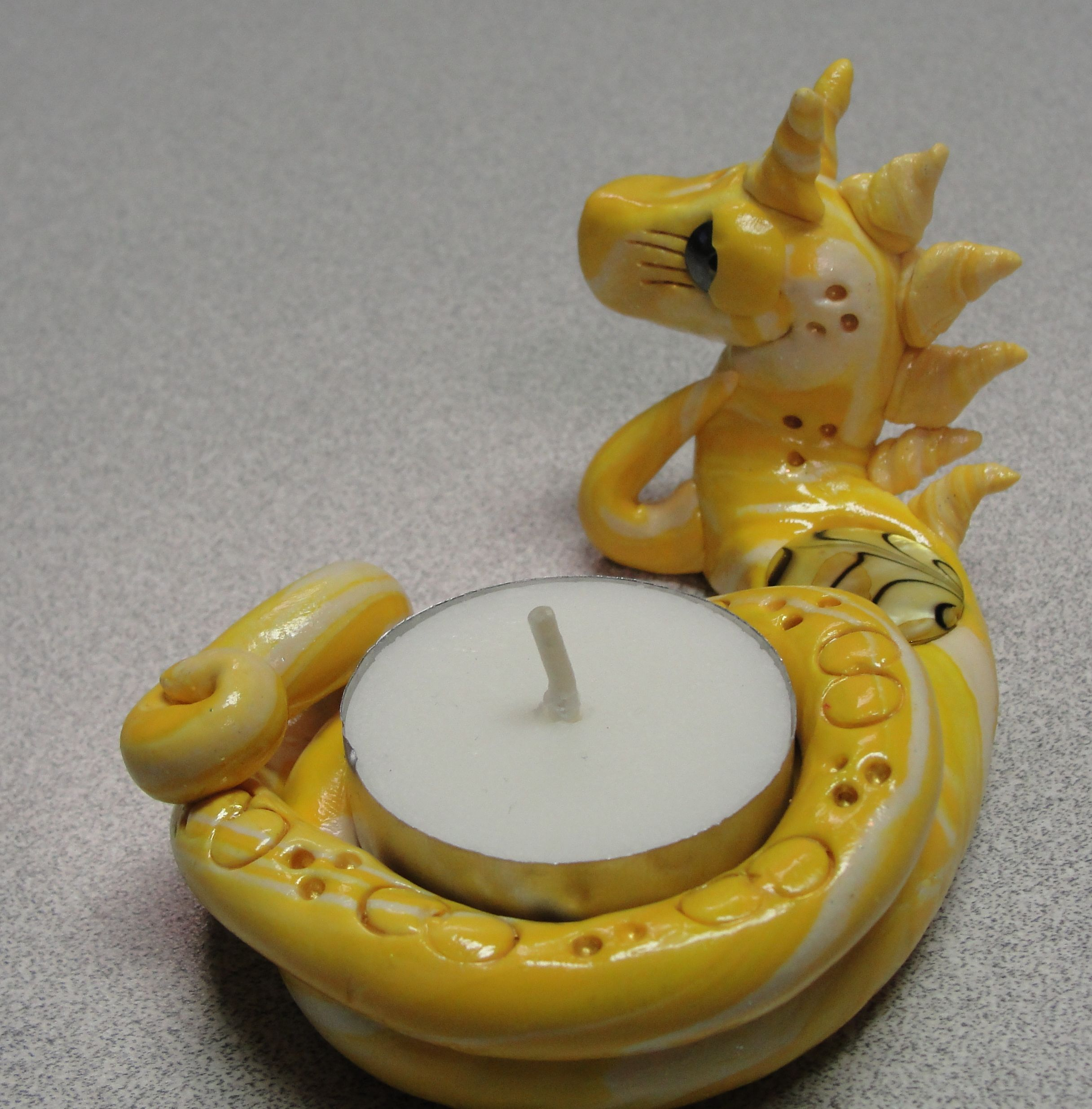 OOAK Polymer Clay Dragon Tea Light Candle Holder by .