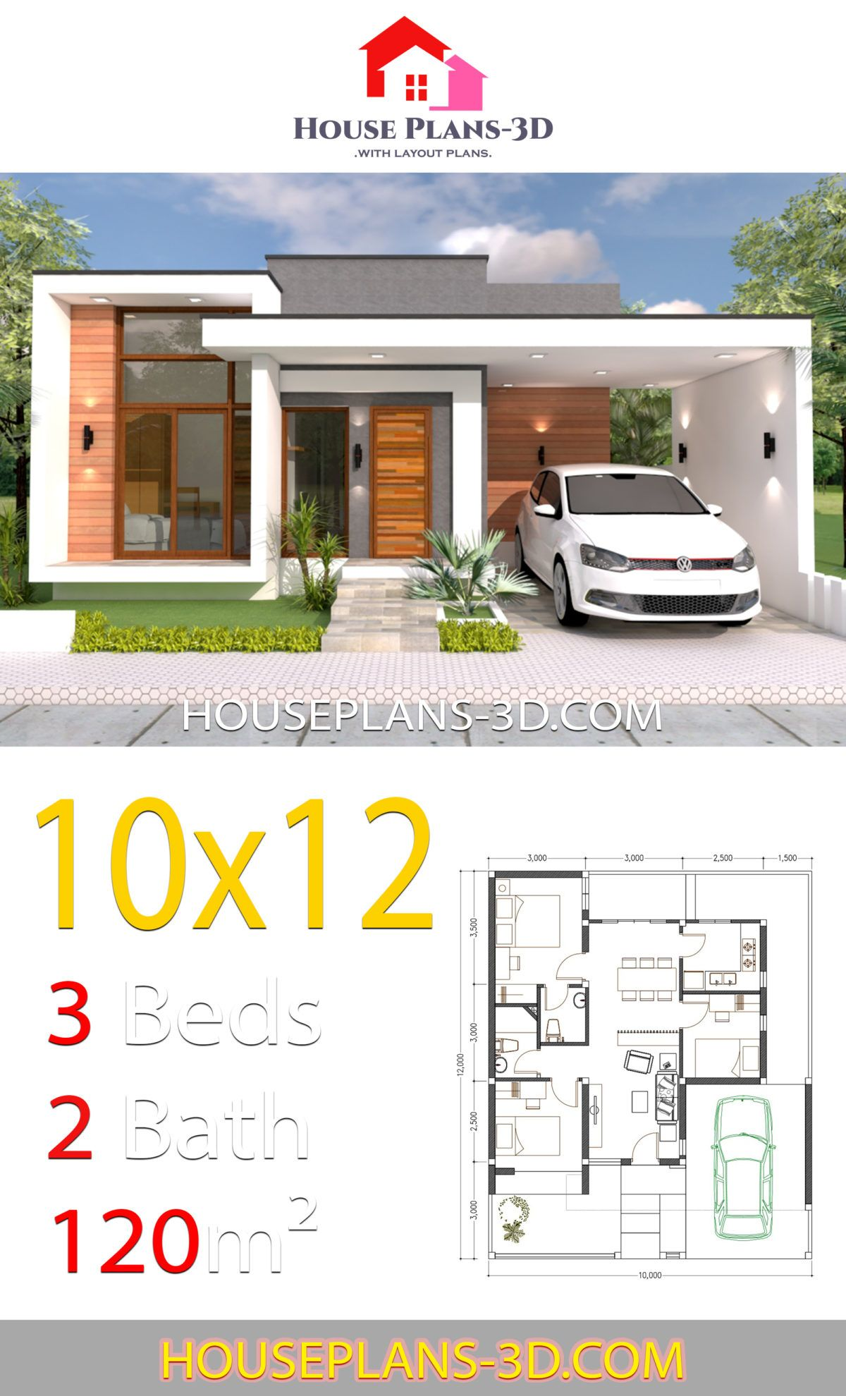 House Design 10x12 With 3 Bedrooms Terrace Roof House Plans 3d In 2020 House Plans House Construction Plan Small House Design Plans