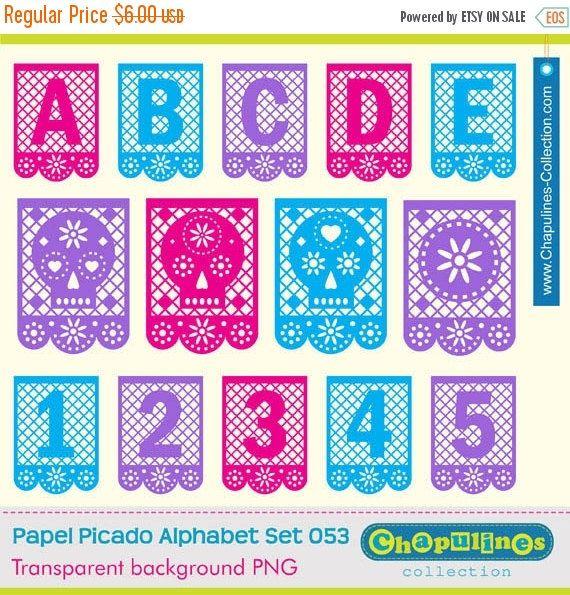 60 Off Papel Picado Alphabet Clipart Letters Numbers Skulls Mexico Dia De Muertos Pink Blue Violet Purple Scrapbook Set 53 Destination Wedding Save The Dates Papel Picado Clip Art