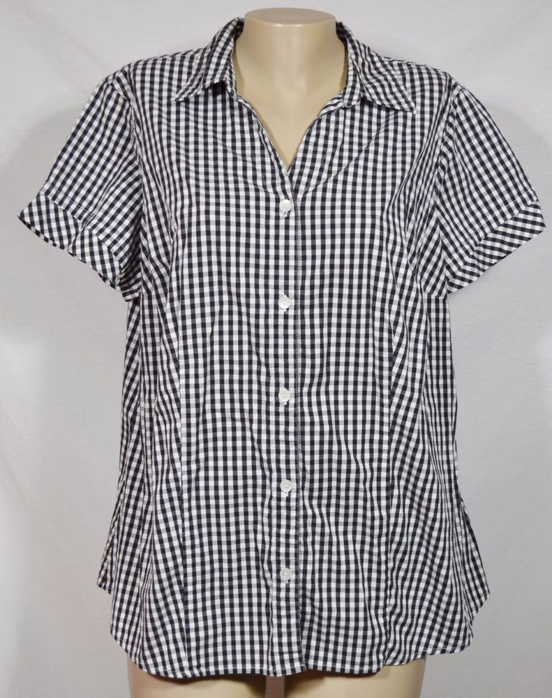 55df83f9 LIZ CLAIBORNE WOMAN Black White Checked Shirt Blouse 2X Short Sleeves  Unlined #LizClaiborne #Blouse #Casual