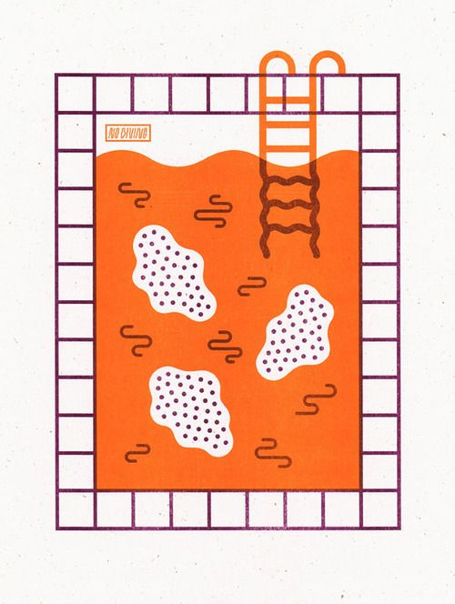 GET THIS COOL PRINT!  sorrysorrytown:    My first riso print! Public Pool Proves Problematic is a 2 color riso print on 70# Text French Madero Beach printed by the always wonderful Issue Press!Very limited run (Ed. of 12); I've got a few of them up for sale here if anyone is interested!