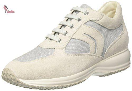 Geox Shahira B, Sneakers Basses Femme, Blanc (White/Off White), 38 EU