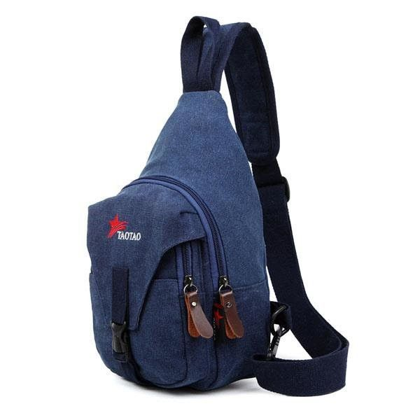 Men Canvas Casual Portable Outdoor Cycling Sports Crossbody Shoulder Bags Chest Bag