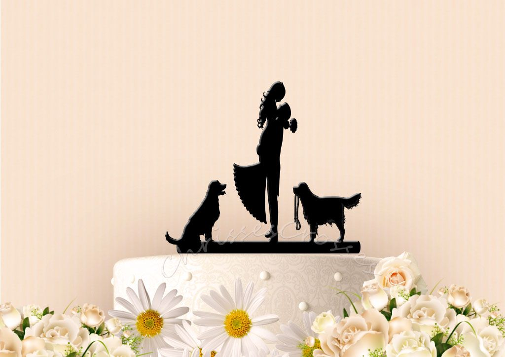 Cute couple with dogs cake topper chrisscrosses dog