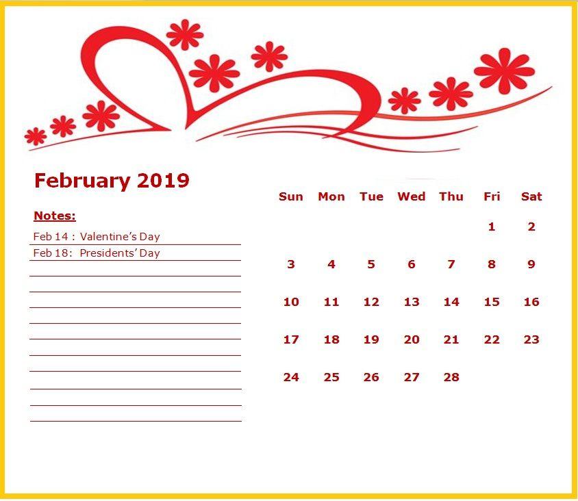 Cute February 2019 Calendar MaxCalendars Pinterest Calendar