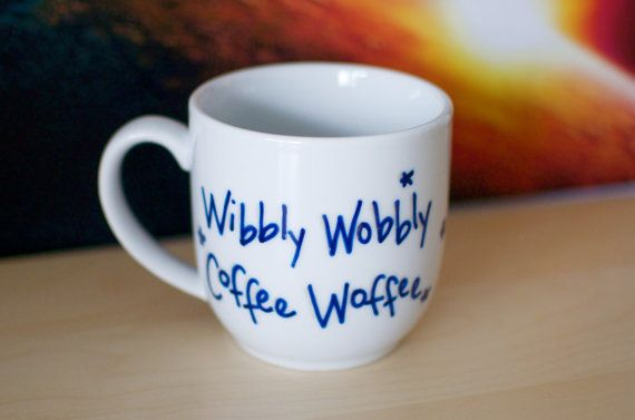 Doctor Who Wibbly Wobbly Coffee Woffee Hand Painted Mug on Etsy, $15.00