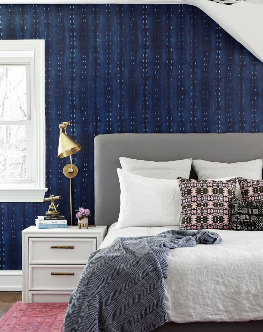 City Scape Wallpaper Calming Dark Indigo Design Milton King Luxury Bedroom Furniture Blue Bedroom Decor Bedroom Decor