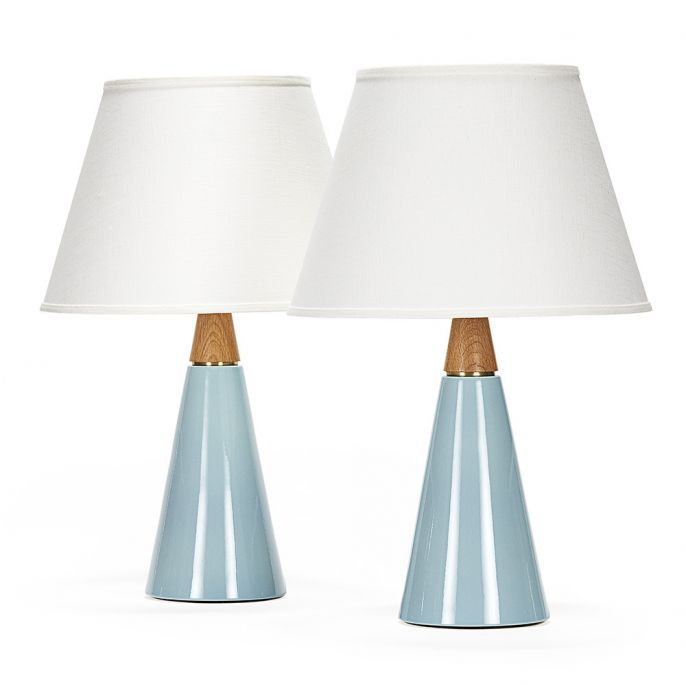 Wyatt Pair In Shallows Stone And Sawyer Satin Brass Hardware Linen Shades Ceramic Table Lamps