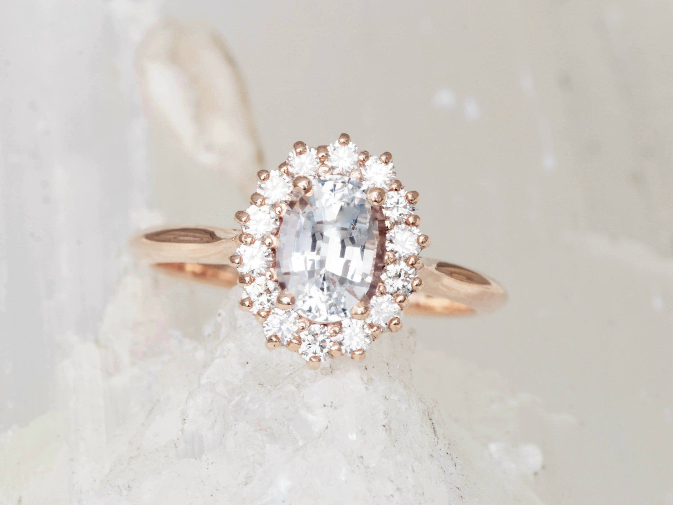 White sapphire ct diamond cluster rose gold engagement ring