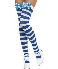 White thigh high socks with blue stripes dress