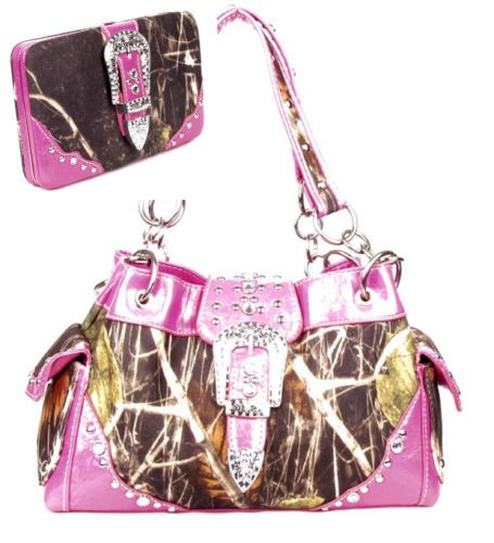 Western Purse Handbag Belt Buckle Camouflage Camo Studs Pink Trim W Wallet