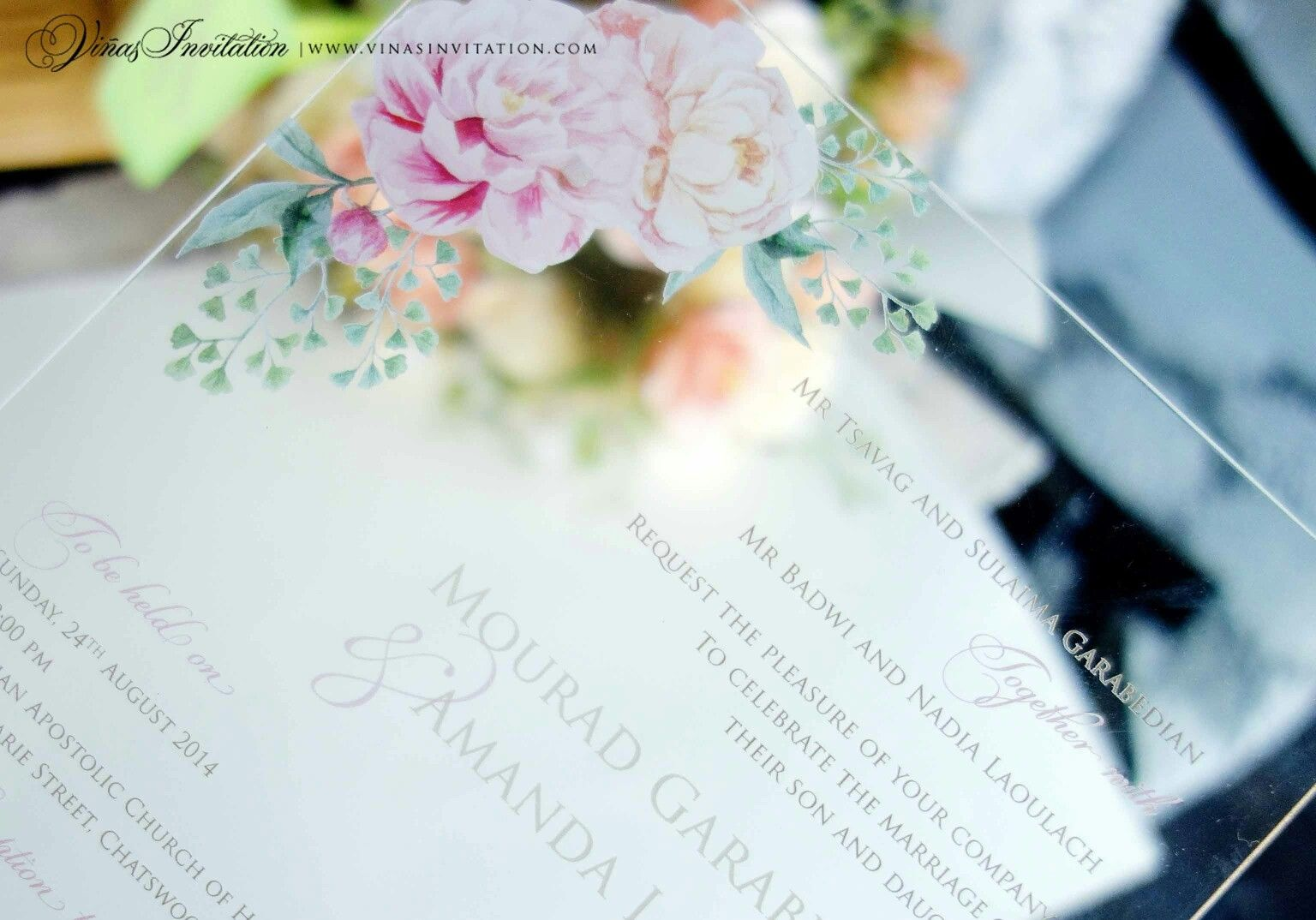 Wedding Invitations Sydney: Vinas Invitation. Acrylic Invitation. Sydney Wedding