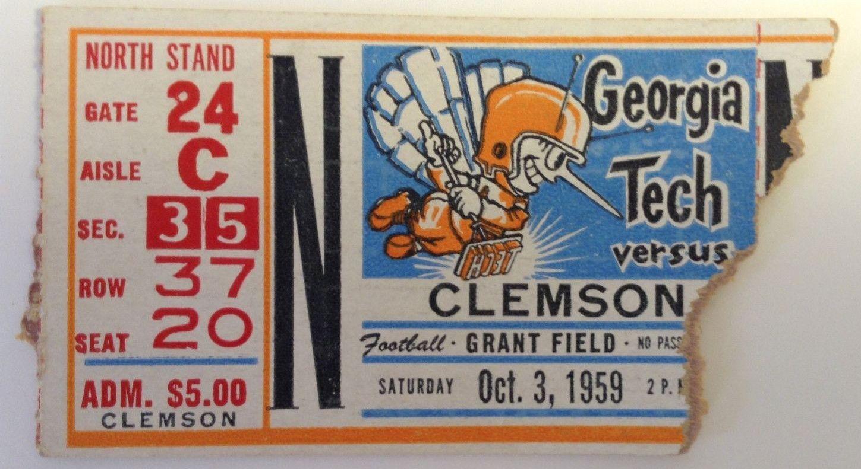 1959 Vintage ticket stub October 3 Tech vs. Clemson