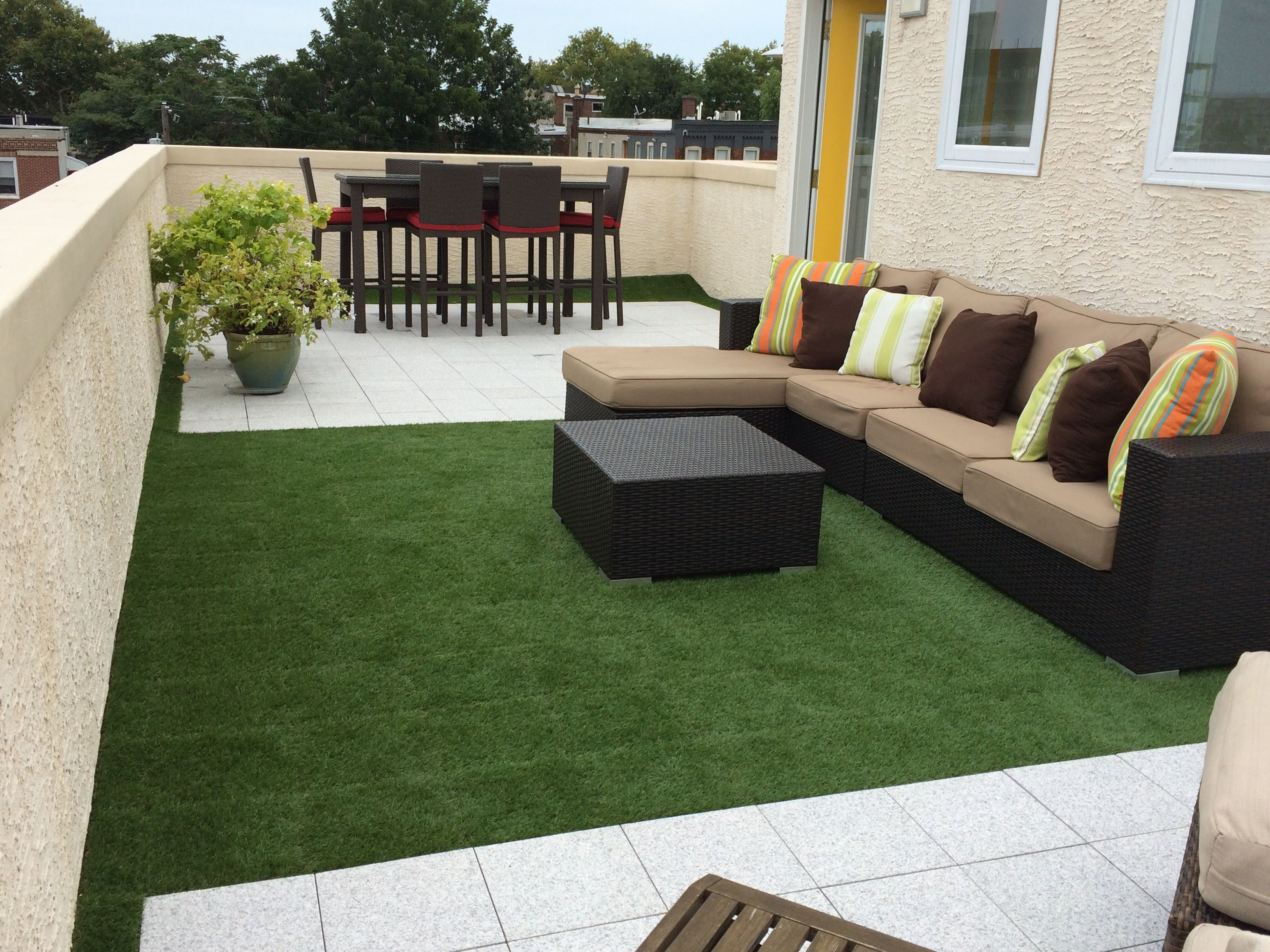 The outdoor modular grass tile is an easy to install snap to her artificial grass turf tile