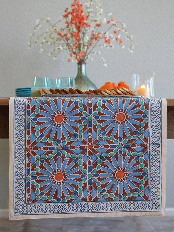 Mosaique Bleue Moroccan Tile Print Blue Table Runner In 2020