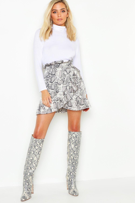 Petite Ruffle Wrap Snake Print Mini Skirt | Boohoo #snakeprintbootsoutfit