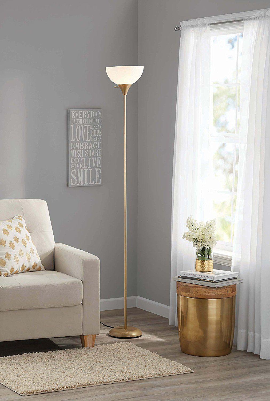 Amazon Com Mainstays Metal Floor Lamp Gold Cell Phones Accessories Modern Floor Lamps Floor Lamps Living Room Cool Floor Lamps #pole #lamps #for #living #room