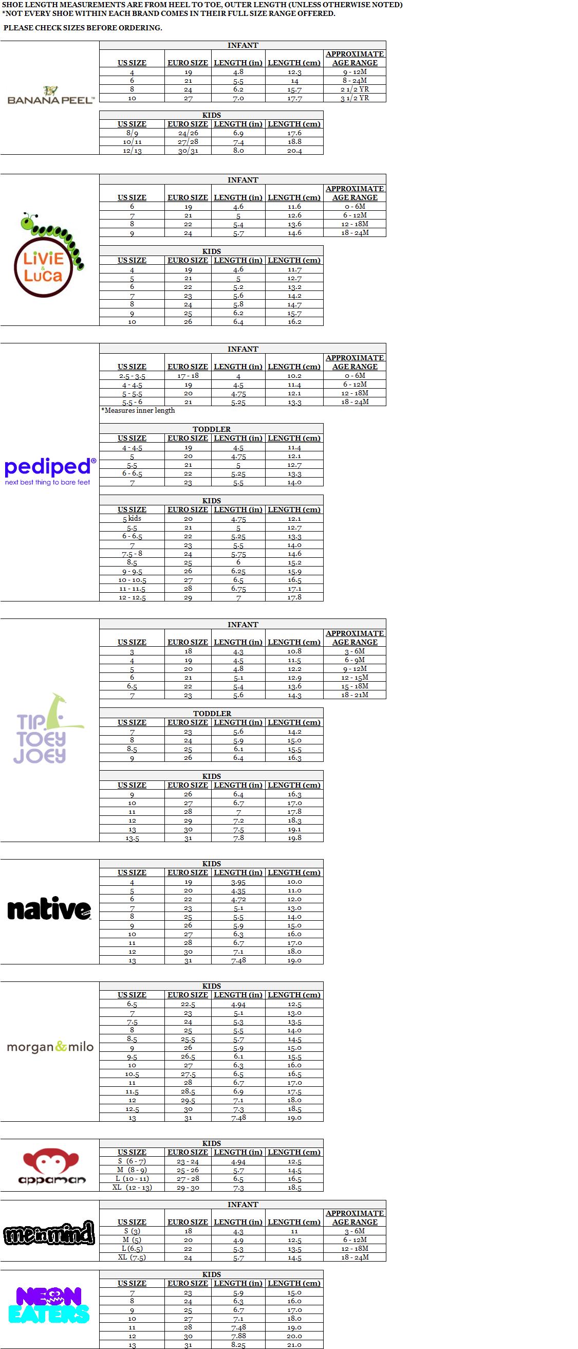 Image result for strasburg shoe size chart | Kids' sizing charts |  Pinterest | Shoe size chart