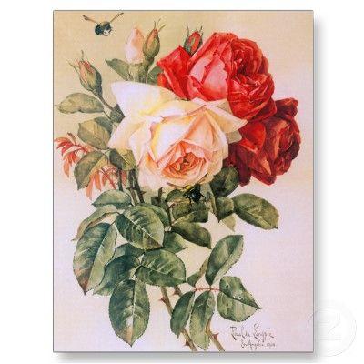 Three Roses Vintage Postcard